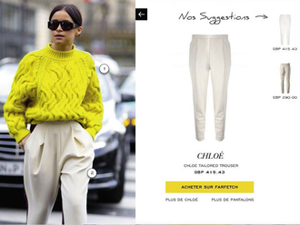sweater jaune laine pantalon beige lunette