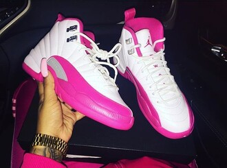 shoes jordan's hot pink pink white girl women's jordan 12s 12 sporty basketball basketball shoes