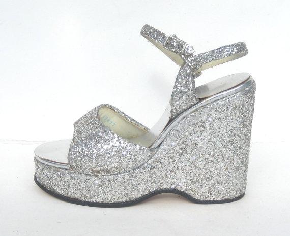size 7.5 / dazzling 1970s silver wedge by SplendoreBoutique