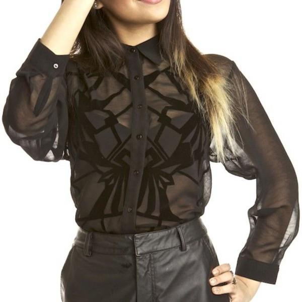 blouse top black top black blouse black design cute black pants all black everything see through all black everything see thru