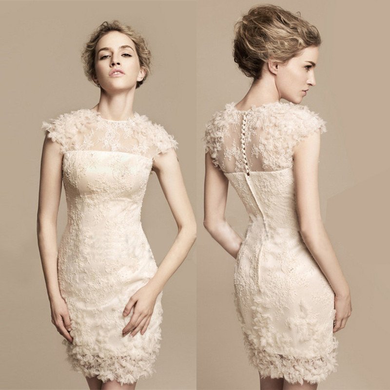 short sleeve knee length flowers embroidery lace cocktail dresses 2014 new fashion women formal pencil dress-in Cocktail Dresses from Apparel & Accessories on Aliexpress.com