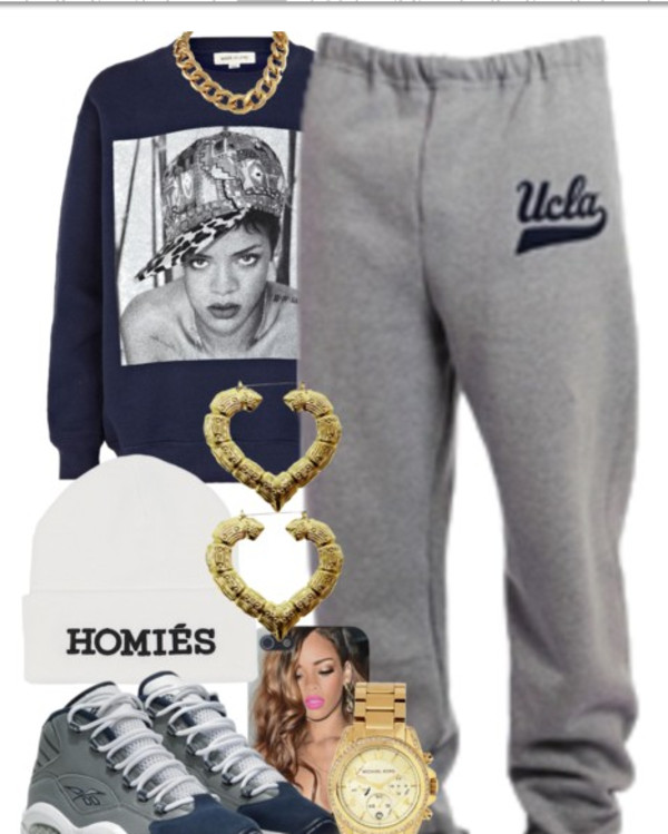 shoes grey rihanna sweater sweatpants navy jewels pants heart earrings hat