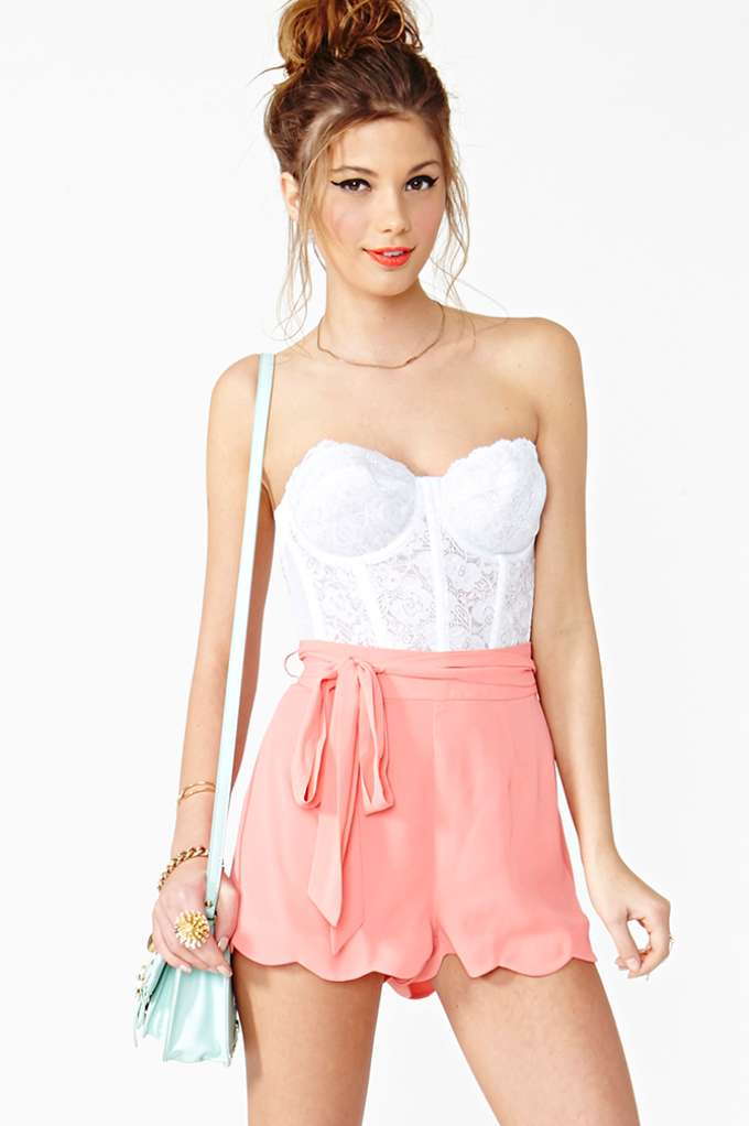 Pixie Scalloped Shorts in  Clothes at Nasty Gal