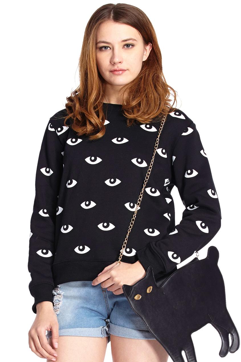 ROMWE | ROMWE White Eyes Print Black Long-sleeved Sweatshirt, The Latest Street Fashion