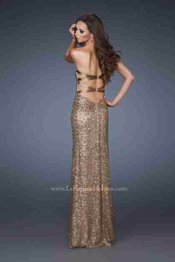 dress gold sequins long prom dress backless