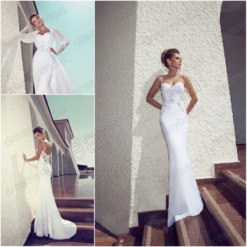 Aliexpress.com : Buy Real Made!! Sexy 2014 Scoop Spaghetti Strap Beading Chiffon A Ling Open V Back Long Evening Dresses Vestido de Festa Custom Made from Reliable beaded bodice dress suppliers on Suzhou dreamybridal Co.,LTD