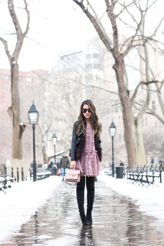 wendy's lookbook blogger jacket dress shoes purple dress black leather jacket boots thigh high boots winter outfits