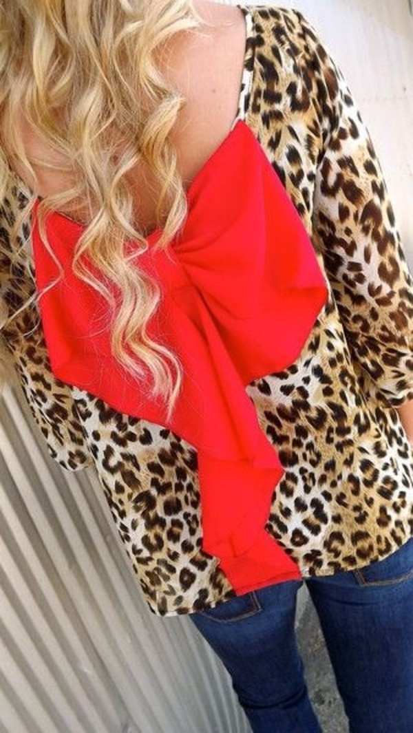 blouse leopard print backless