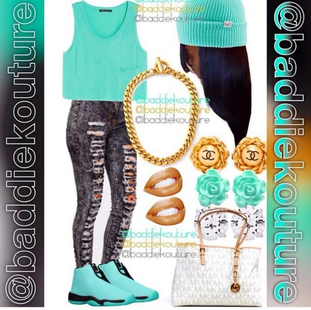 shirt teal light blue tank top style fashion shoes