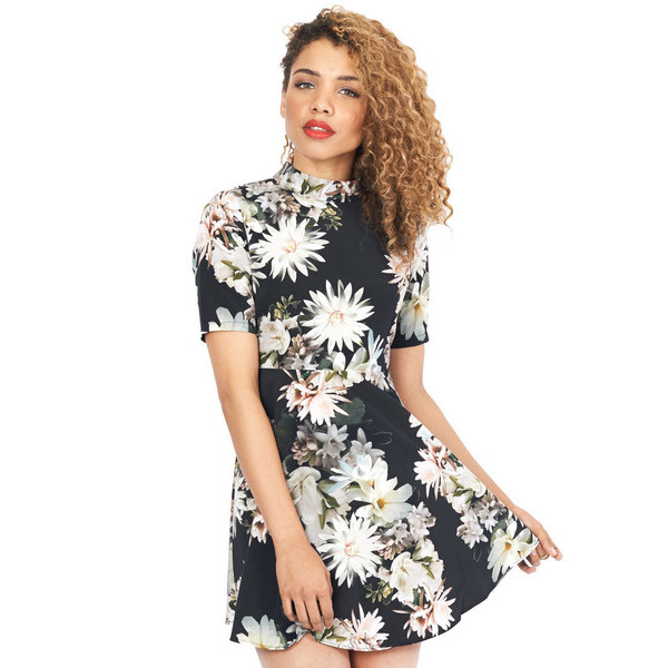 dress marcelle floral flowers graphic tee print mini short sleeve makeup table vanity row dress to kill