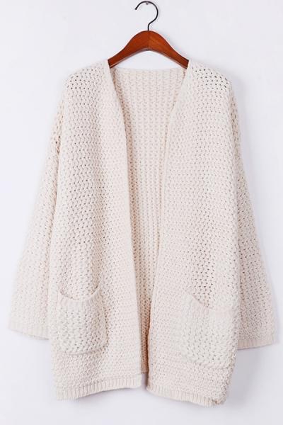 Warm Whole Color Open Front Cardigan - OASAP.com