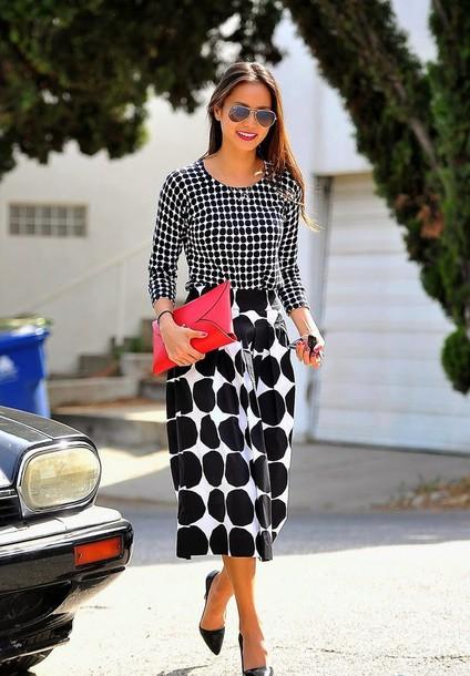 skirt top polka dots jamie chung midi skirt