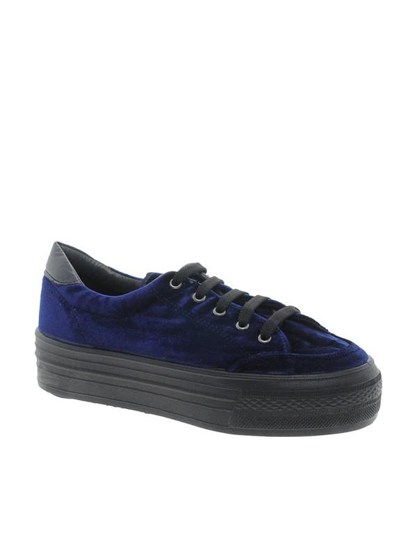shoes platform shoes flatform blue velvet