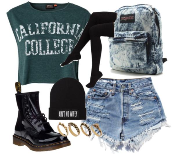 shorts grunge hipster shirt bag hat t-shirt