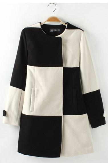 Black & White Grid Pattern Color Block Coat