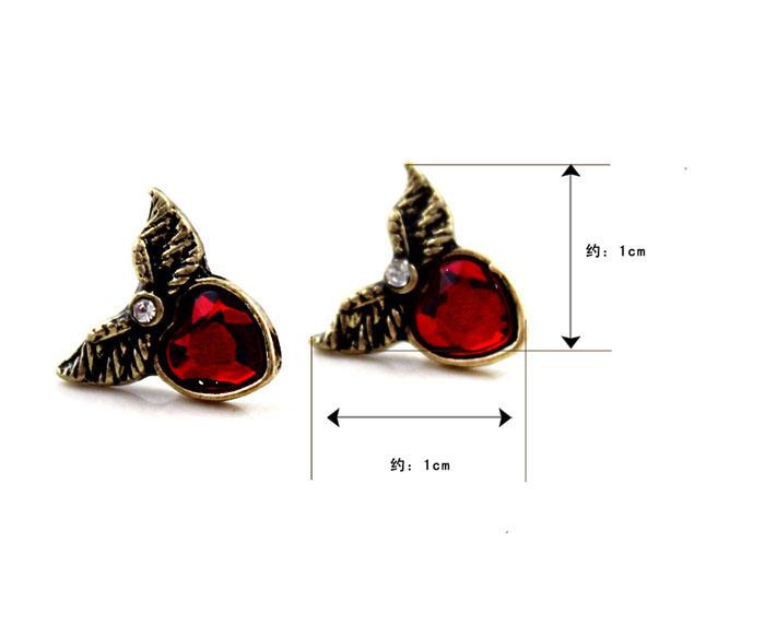 Red Hearts Wings ShanZuan Stud Earrings E0002 [Earrings] - $4.00 : tocgtn.com