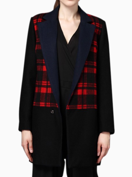 Longline Red Check Wool Coat with Contrast Panel   Choies