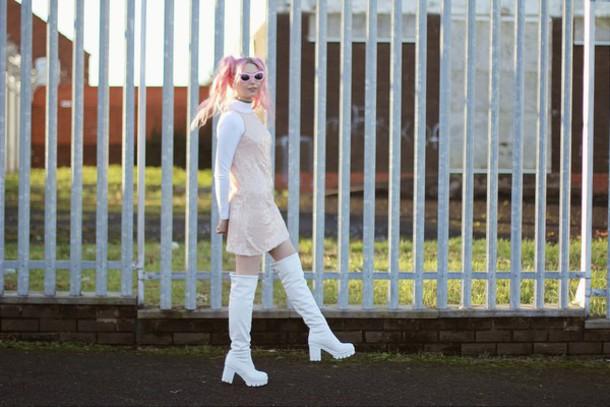 kayla hadlington blogger pink hair kawaii white shoes knee high boots pastel pink pink dress