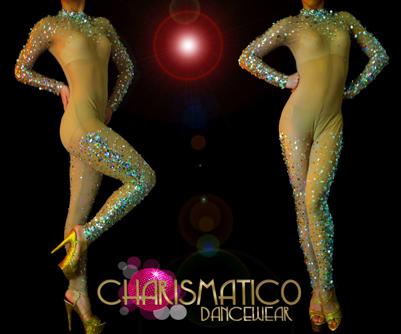 """Charismatico Sheer """"Nude"""" Body Stocking with Iridescent Sequins and Crystals 