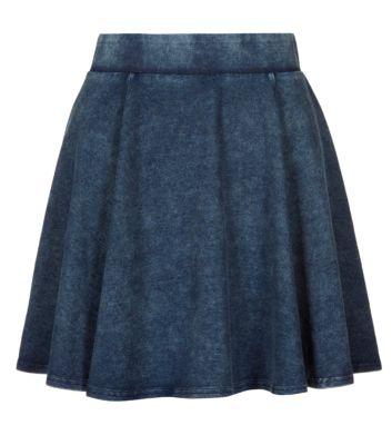 Teens Navy Acid Wash Skater Skirt