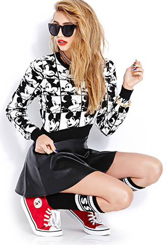 Many Mickey Faces Cropped Sweater | FOREVER21 - 2000066461