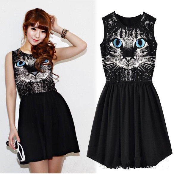 New Women Girl Fashion Blue Eyes Cat Print Sleeveless Cotton Vest Dress Sundress | eBay