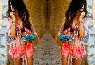 dress kaftan long sleeves flowy bright colorful multicolor jewels