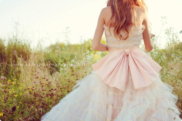 dress ribbon pink white cute flare lace prom dress white dress