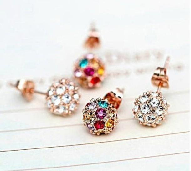 jewels earrings valentine's gift jewelry gold earrings bling crystal rhinestones