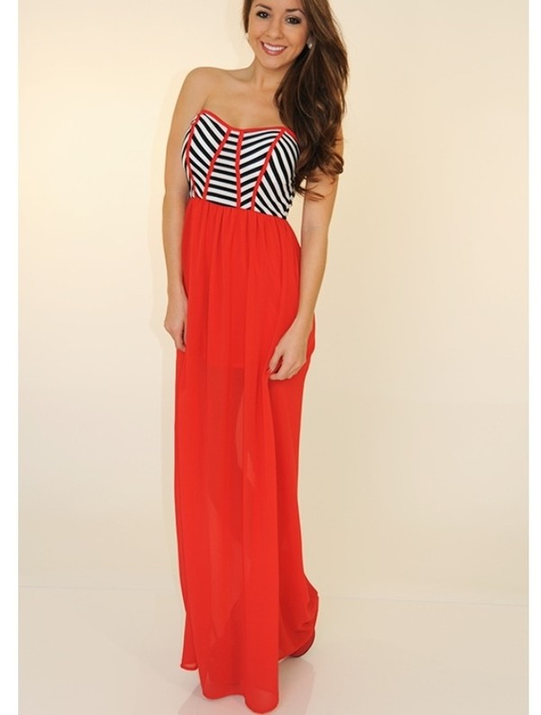 dress red dress stripes maxi dress