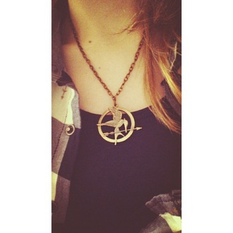 jewels mockingjay hungergames neckles katniss everdeen jennifer lawrence peeta hero necklace gold chain