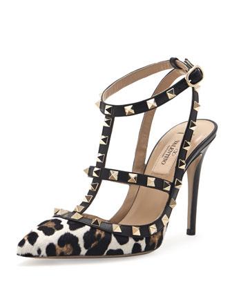 Valentino Rockstud Two-Tone Patent Sandal, Red  - Bergdorf Goodman