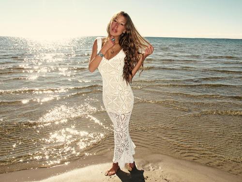 emmaoclothing - Handmade crochet wedding dress WHITE