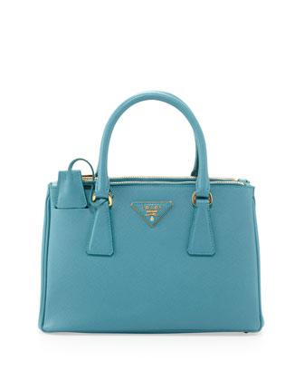 Prada Saffiano Mini Double-Zip Crossbody Bag, Turquoise - Neiman Marcus