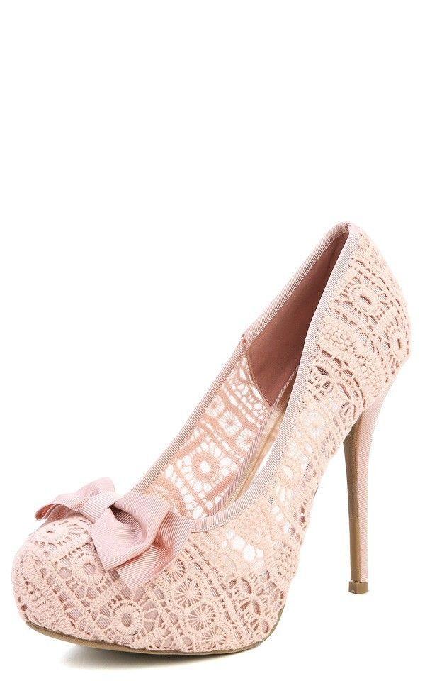 Wild Diva Lounge Sonny 73 Bow Lace Platform High Heels Shoes Pumps Mint or Nude | eBay