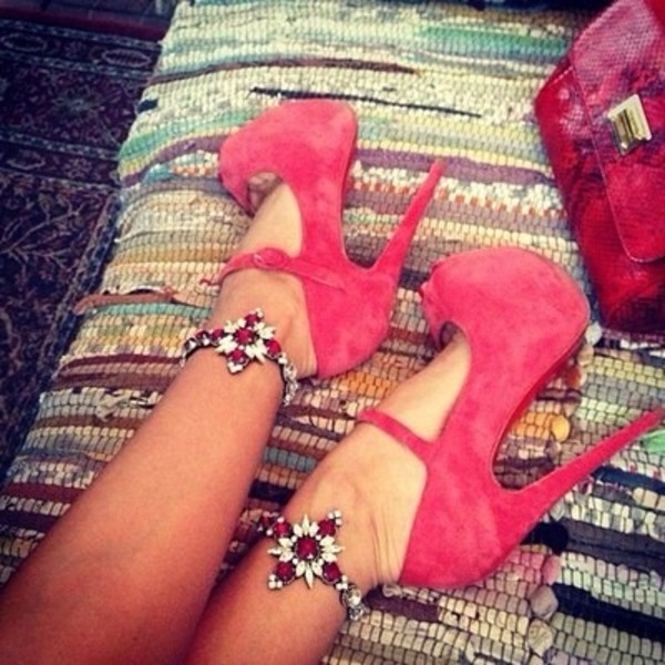 shoes red high heels mary jane platform suede red shoes coral pink heels straps jewels