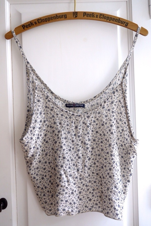 tank top hipster tumblr flowers brandy melville floral