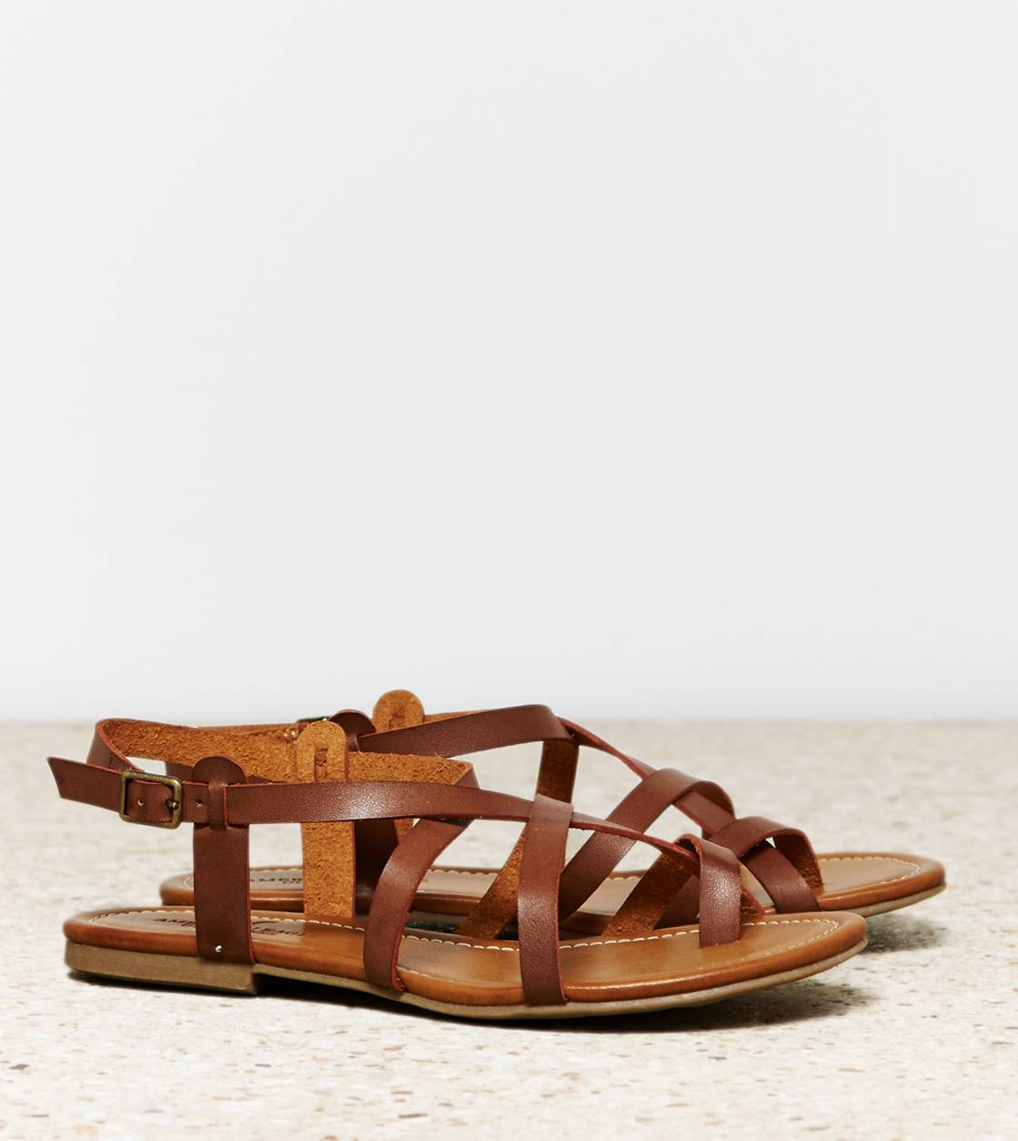 AEO Strappy Criss Cross Sandal, Dark Brown | American Eagle Outfitters