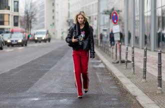 lisa rvd blogger jacket t-shirt pants shoes bag red pants