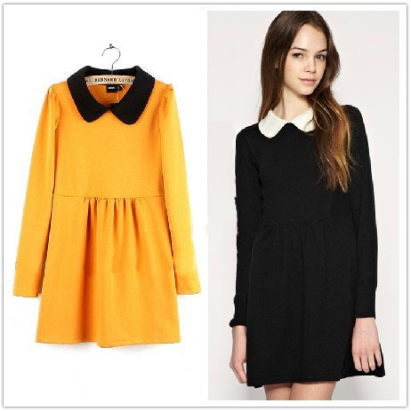 2013 New Solid Color Long Sleeved Peter Pan Collar Knitted Autumn Dress A Line Knee Length Puff Sleeve Cotton Dress In Stock-in Dresses from Apparel & Accessories on Aliexpress.com