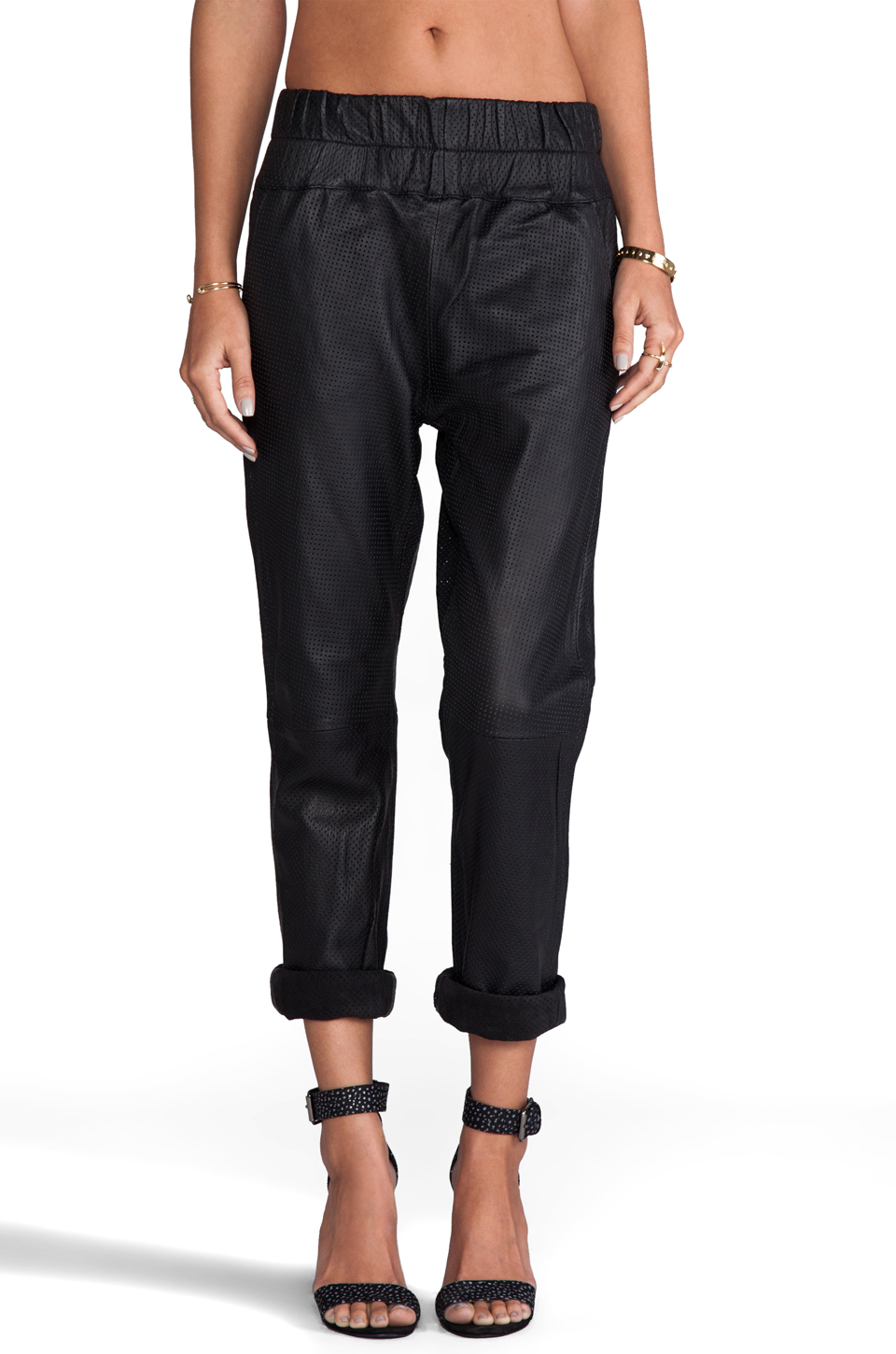 Friend of Mine Boxer Leather Track Pants in Black | REVOLVE