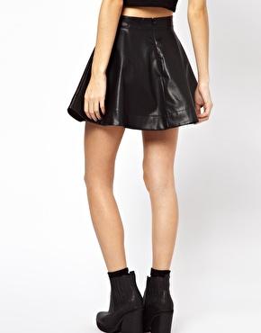 ASOS Petite   ASOS PETITE Exclusive Leather Look Skater Skirt at ASOS
