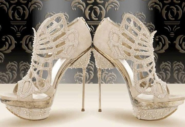 shoes wedding shoes cut-out white high heels glitter platform high heels