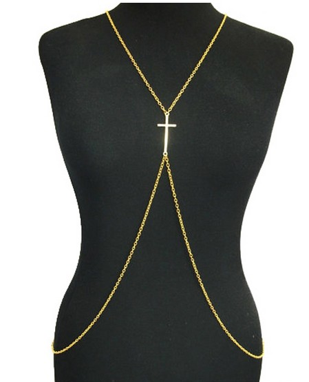 A Large Cross Charm Body Chain Belly Harness Slave Metal Chain Necklace GOLD/silver-in Chain Necklaces from Jewelry on Aliexpress.com