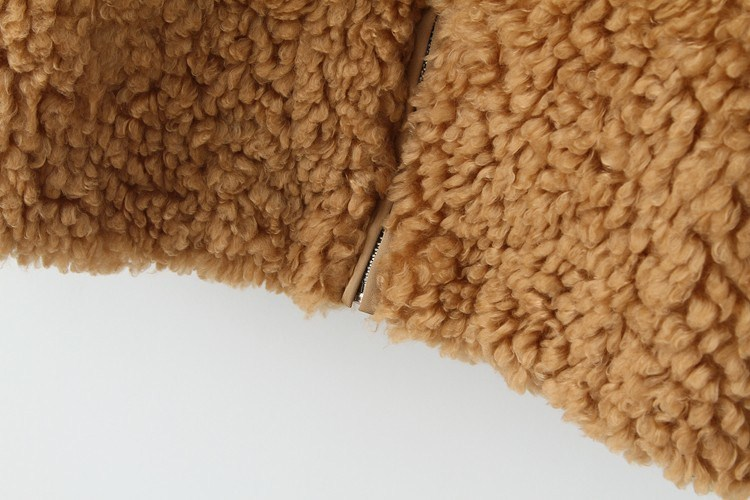 Khaki Long Sleeve Loose Faux Fur Coat - Sheinside.com