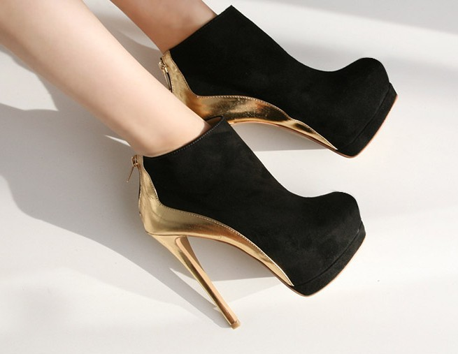 Wholesale ankle boots high heel shoes fashion black and gold heels new arrivals 2013 winter size 35 39 D 0315-in Boots from Shoes on Aliexpress.com