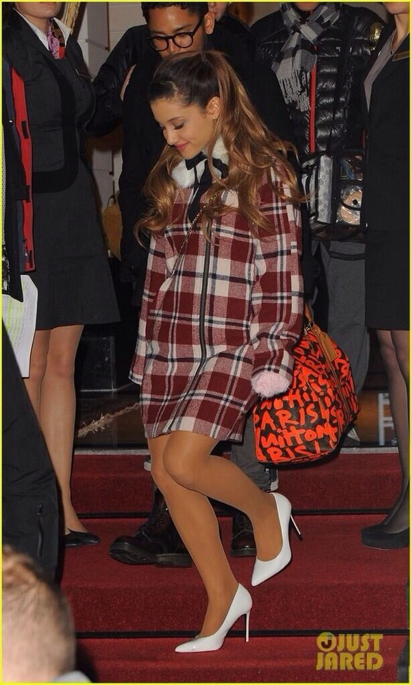 dress plaid plaid coat plaid dress winter outfits ariana grande ariana grande bag