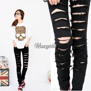Utar s M L Womens Cut Out Ripped Punk Skinny Pants Jeans Jeggings Trousers Black | eBay