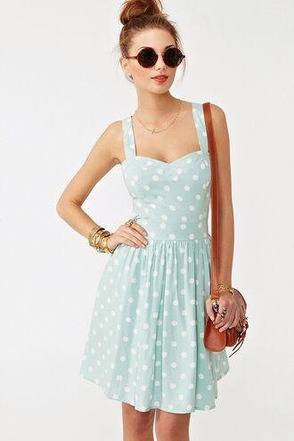 dress pastel blue polka dots gorgeous cute fashion pretty style sunglasses polka dots dress light blue dress vintage dress