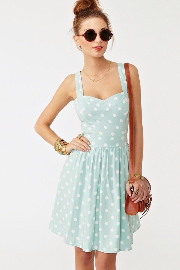 dress pastel blue polka dots gorgeous cute fashion pretty style dress sunglasses polka dots dress light blue dress vintage dress